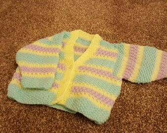 Hand knitted baby cardigan 0-3m