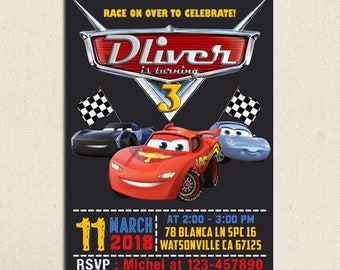 Disney Cars Birthday, Disney Cars Invitation, Disney Cars Birthday Invitation, Disney Cars Party, Lightning McQueen Invitation