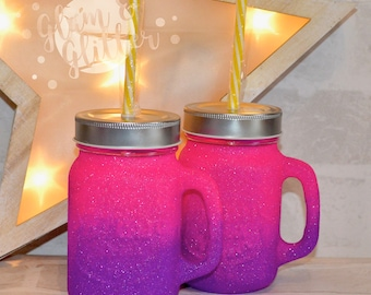 Glitter Ombre Heavy Mason Jar Glass