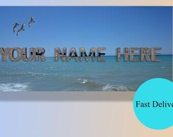 FaceBook Photo Cover,Social Media Banner,Customizable Facebook Cover,Sea Cover Photo,Blue,3D Logo