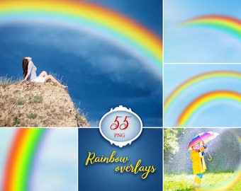 55 rainbow photo overlays, photoshop overlay, rainbow photography, photography prop, digital download, png file, clip art, transparent PNG