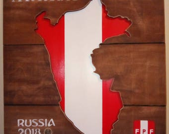 Peru World Cup Russia 2018 Wooden Flag