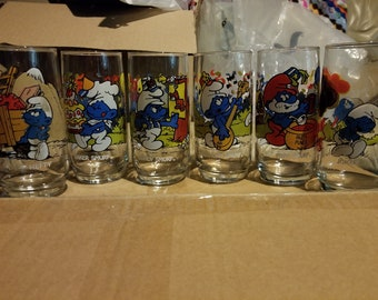Vintage Set of 6 Smurf Character Glasses Peyo, Wallace Berrie & Co.