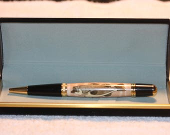 Handcrafted Large Mouth Bass Inlayed Pen in a Black Velour Case