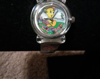 Vintage Armitron Watch for Warner Brothers completely clear Looney Tunes watch