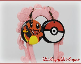 Pokemon CHARMANDER Earrings-hand Painted