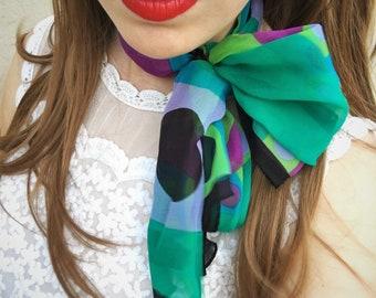 RESERVED - Vintage Purple Green Chiffon Scarf / Headscarf / Neck Scarf / Vintage Accessories / Vintage Fashion / 1970s Retro / Flower Child