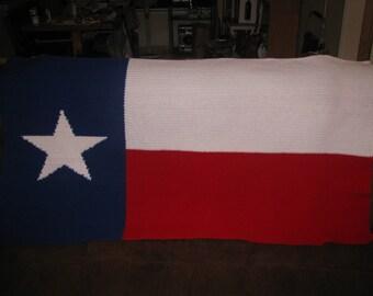 Hand Crocheted  Texas Flag Afghan.