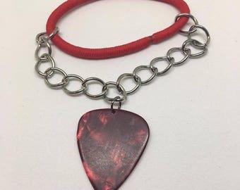 Red Guitar Pick Bracelet