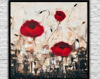 painting red poppies, (60x60cm) on canvas