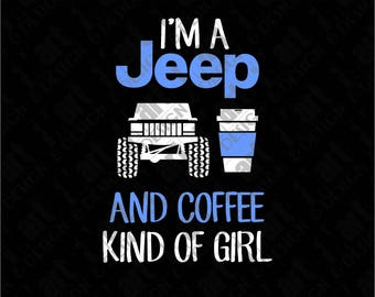 SVG Jeep & Coffee Girl XJ Cherokee
