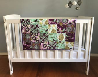 Patchwork Cot Quilt in a Lilac Palette