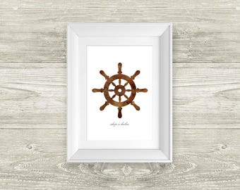 Ship's Helm Watercolor Painting Digital Art Print Silhouette Custom Wall Decor, Home, Office, Nursery, Room Decor