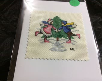 Cross stitched skaters greeting card