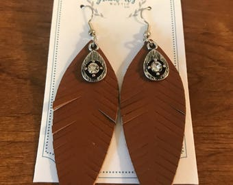 Leather Feather Earrings with Jewel Accent
