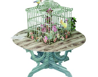 3D Pop Up Birdcage Greeting Card,3D Birthday Card,Handmade Thank You Greeting Cards with Blank Envelopes for Valentines
