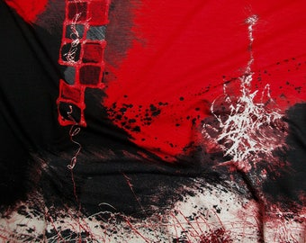 Viscose jersey Jennifer 60906-104 printed in red-black