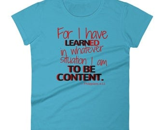 Learn to be content - Women's short sleeve t-shirt