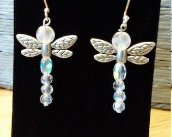 Silver beaded dragonfly earrings