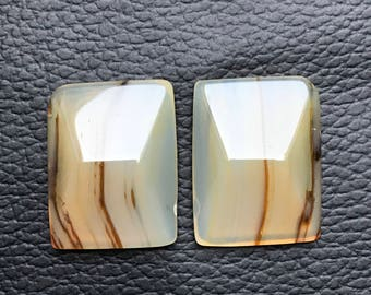 1 Pair Beautiful Natural Onyx Banded Gemstone, Pendant Onyx Banded Stone, Banded Stone Weight 44 Carat and Size 23x18x6 MM Approx.