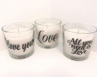 Glass scented Candle Love Gift