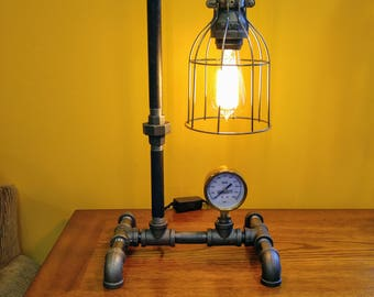 Edison lamp/Rustic decor/Unique Table lamp/Industrial lighting/Steampunk light/housewarming/gift for men/bedside pipe lamp/office lamp
