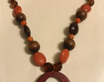 Brown and orange wood necklace
