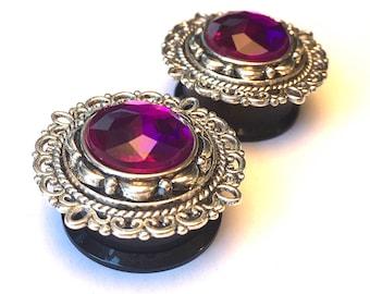 Ear Plugs with purple crystal-like bead, formal ear Gauges filigree, (18mm, 20mm, 11/16″, 13/16″)
