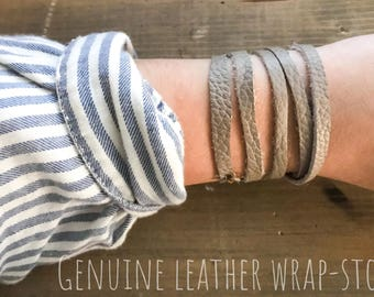 Leather wrap bracelet-brown and stone
