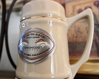 Broncos Superbowl champions stein collectors item NFL momorabilia