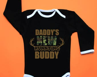 Black and camo baby grow,bodysuit for hunters