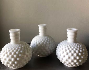 Vintage Fenton White Milk Glass Hobnail Perfume Bottle Set of 3 W/O Stopper LOT