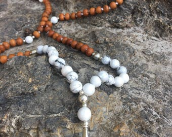 Howlite and Sandalwood Mala