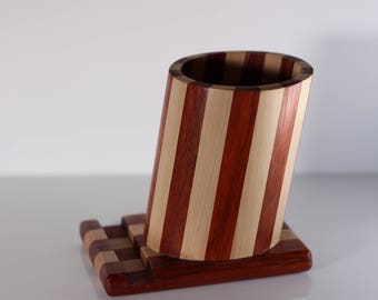 PEAR and padouk wood pencil holder