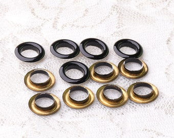 eyelets grommets 11*6*2.5mm black eyelets with washer 100 sets metal copper grommets eyelets for shoes clothes making
