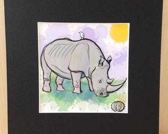 miniature 4x4 art print - Rhinocerous