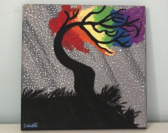 Tree blowing in wind painting