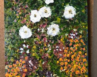 Flower Garden II - 12 x 16 original oil on board
