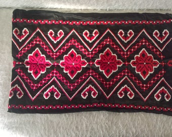 Traditional Hand Embroidered Vintage Bulgarian Pillow Case