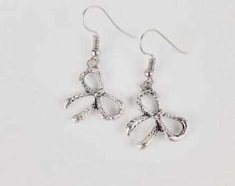 Handmade Silver Bow Drop Earrings
