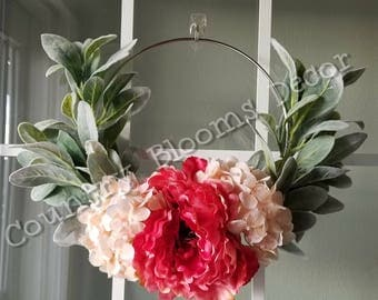 Shabby Chic Silver Ring Wreath - Welcome front door - Gifts for her - Gifts for Mom - Hoop Wreath - Summer Wreath - Lambsear Wreath- Peony