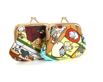 Cats in the Japanese room,metal frame purse, kiss lock purse