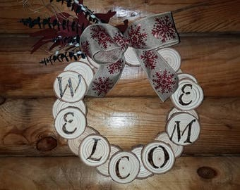 Wreath Wood Burned Sliced Rustic Country Welcome