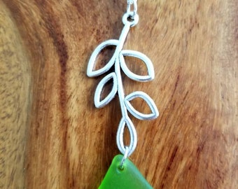 Green Sea Glass Dangling from Branch Charm