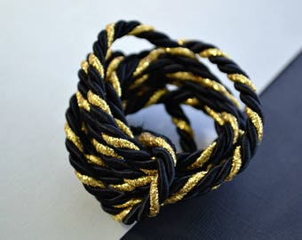 Black and Gold Braided Cord with Wire - Twisted Metallic Rope - Wired Trim for DIY Craft, Jewellery Making
