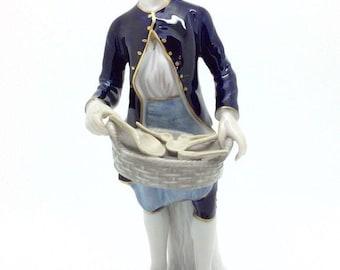 "Antique Porcelain Dresden Figure Spoon Seller Unterweissbach 18cm 7"""