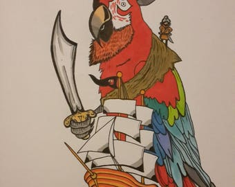 Pirate parrot A4 print