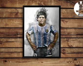 Maradona print wall art home decor poster