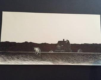 Original Hand Drawn Illustration in Pen and Ink Rustic Noir