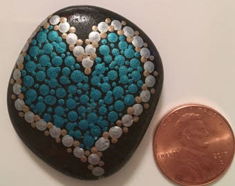 Hand painted rock - Teal Heart